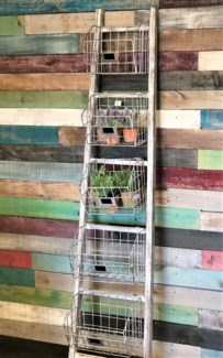 Wooden Ladder Shelf w/5 metal shelves, White