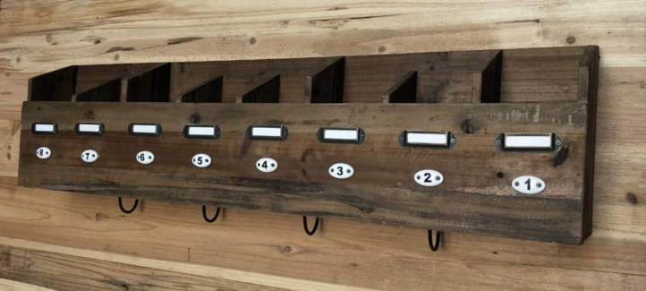 Rustic 8 Compartment Wall Shelf