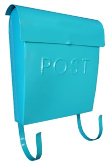 Euro Post Mailbox, Light Turuoise, 11 x 4.5 x 12 in