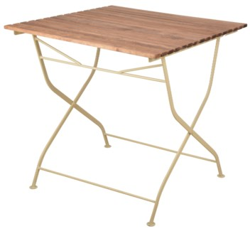 Foldable table wood/metal/cream. Steel, beech wood. 78,4x78,0x77,0cm. oq/1,mc/1 Pg.109
