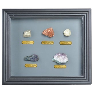 Minerals collection in frame. Real minerals, glass, MDF. 32,0x4,6x27,5cm. oq/6,mc/24 Pg.105
