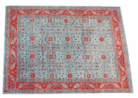 Glory Blue Carpet, 4x6 , 100 % Cotton, machine woven, 200gm/sqf India