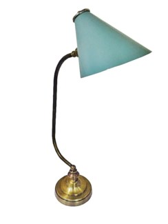 Nester Desk Lamp, Antique Brass with Grey Powder Coated Shade, 22.4  Height x 5.5  Base