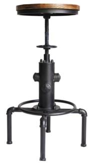 Leo Adjustable Stool, Matte Black, 18x18x24-29.5 inches, Metal Frame, Pine Wood Seat