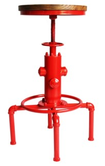 Leo Adjustable Stool, Red, 18x18x24-29.5 inches, Metal Frame, Pine Wood Seat