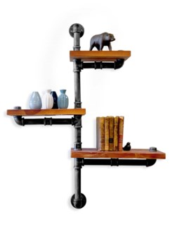 Industrial style 3 shelf unit with piping. Black/Silver brushed pipe finish and  1.2 inch thick pin