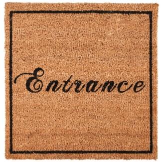 Doormat coir square entrance, Coconut fibre, PVC - 17.72x17.72x1.6