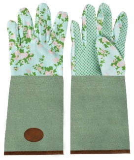 Rose print/jute garden glove long. 0. 18,2x1,2x37,0cm. oq/6,mc/6 Pg.137