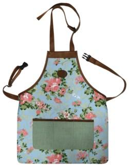 Rose print/jute apron. 0. 45,5x1,0x74,0cm. oq/12,mc/48 Pg.137