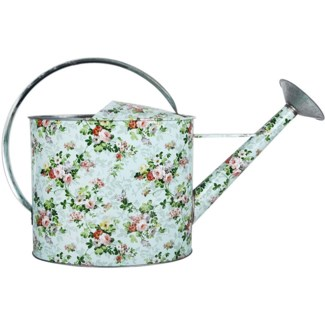 Rose print outdoor watering can, Galvanized steel - 20.24x6.38x31.5