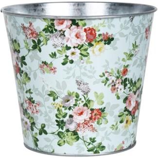 Rose print round zinc flower pot, Galvanized steel - 6.26x6.26x14.2