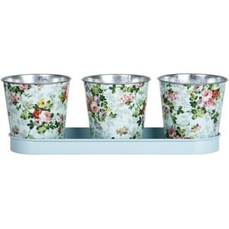 Rose print 3 pots on tray, Galvanized steel - 12.6x4.17x10.9