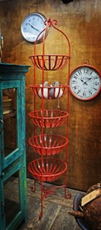 Iron Five Basket Fruit Rack, Red finish