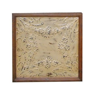 Iron Ceiling Panel in Cream, Replica, With Frame - 24x24 inches