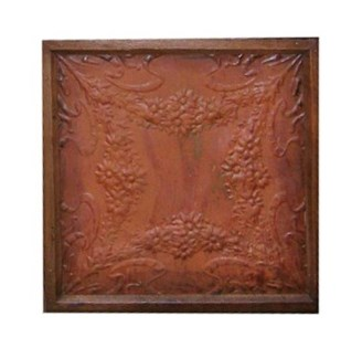 Iron Ceiling Panel in Rust, Replica, With Frame, Replica - 24x24 inches