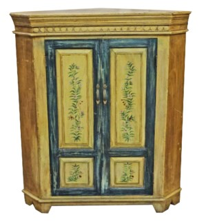 Vintage Replica Painted Corner Cabinet