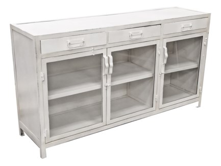Industria Iron Cabinet, White  59.5Lx18.5Wx33 inch High