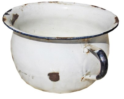 Antique Enamel Round Pot with Handle, Large,