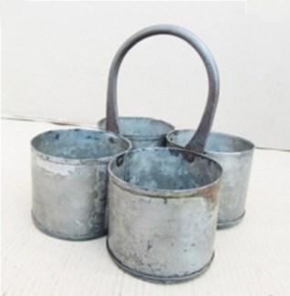 Antique 4 Zinc Pot 8x8x8 inches