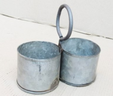 Antique 2 Zinc Pot Service 8x4x7.5 inches