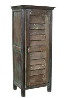 RS-40841 - Vintage Shutter Cabinet Dark Brown, 22x15x52 Inches