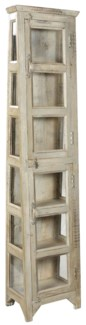 RS-40899 - Antique Wood Wedge Cabinet- 17.8x11.4x74 inches