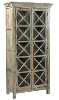 RS-41485 Vintage Replica Cabinet,Mango Wood, Lt. Green 33x15x68 inches - DISC. AS PER FA 02.16.18