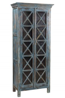 RS-41270 Vintage Replica Cabinet,Mango Wood, Blue 29x15x68 inches