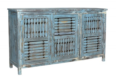 RS-40751 Vintage Replica Cabinet,Mango Wood, Blue 60x14x33 inches