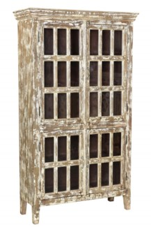 RS-41754 Vintage Replica Cabinet,Mango Wood, Dist. Wht 42x16x72 inches