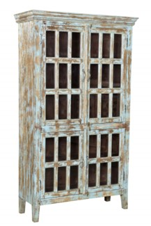 RS-41755 Vintage Replica Cabinet,Mango Wood, Dist. Blue 42x16x72 inches