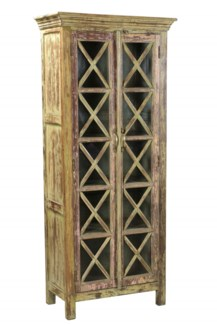 RS-41486 Vintage Replica Cabinet,Mango Wood, Dist. 29x15x68 inches