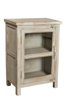 RS-40194 Vintage Replica Side Table, Mango Wood, Cream 20x12x30 inches
