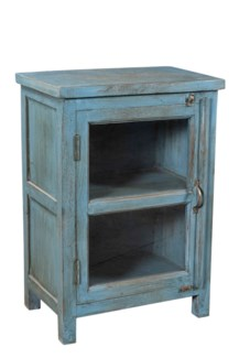 RS-40384 New Repro Side Table,Mango Wood, Blue 20x12x29 inches