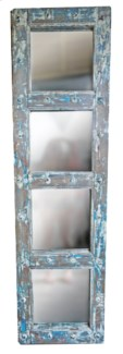 RM-34829 Vintage Door w/Mirror,Teak wood, Lt. Blue 19x2x71 inches