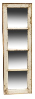 RM-24495 Vintage 4 panel Mirror, Teak wood frame, Various, 16.5x50 inches