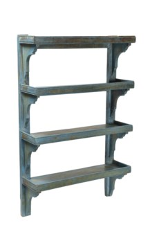 RS-41969 - Vintage 4 Shelves Wood Rack Cool Grey, 61x20x97 Inches