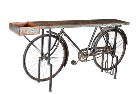 THC-1386 Vintage Replica Bicycle Side Table, Iron 71x16x37 inches