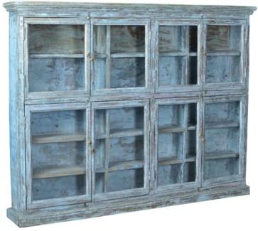 Vintage Multi-Shelf Bookcase, Pale Blue, 77x10x58 Inches