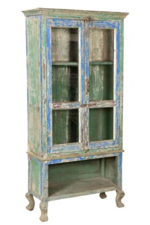 Vintage Hanger Cabinet, BL & GRN Finish, 32x13x48 Inches