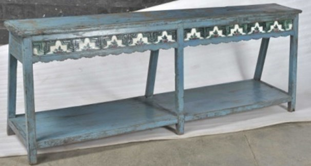 RM-35139 - Vintage Bench Floral Pattern, Rustic Blue, 72x11x26 Inches