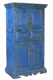 RM-35161 - Vintage 4 Door Cabinet Royal Blue, 39x21x68.5 Inches