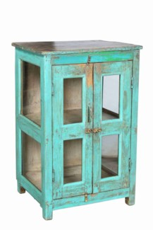 RM-35197 - Vintage Side Cabinet w/ Brown Top & Teal Finish, 21X15X30.5 Inches