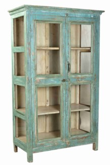 RM-35374 - Vintage 4 Pane Cabinet Blue & Green Finish, 45.5X20X71.5 Inches
