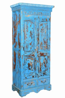 RM-35398 - Vintage Tall 2 Drw Cabinet Blue, 33x19.5x74 Inches