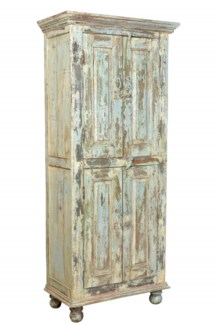 RM-35478 - Tall Wooden Cabinet, 2 cupboards, distressed, 33x18.5x79 inches