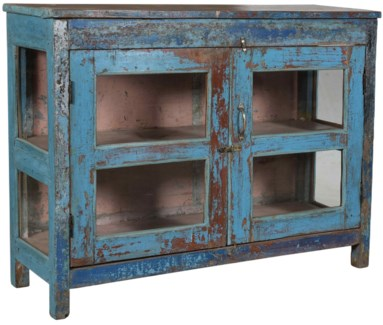 RM-35517 - Vintage Multi-View Cabinet Distressed Blue, 47.5x15x36 Inches, Barron Collection showroo