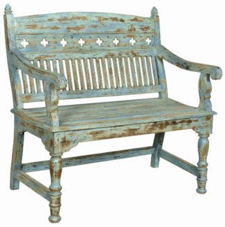 RS-41320 - Vintage Wood Bench DIST. Blue & Green Finish, 39x24x40 Inches