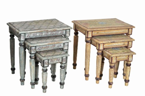 set of three Nesting tables , hand painted,  Various Design & Sizes