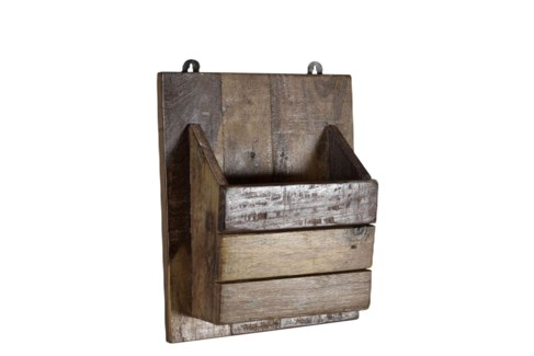 RS-40184 - Recycled Wood Wall Pocket Organizer, 10x4x12 Inches